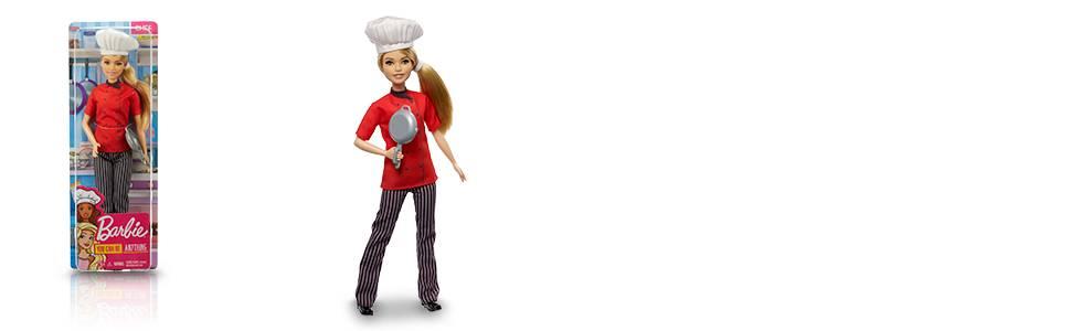 Barbie Quiero Ser Chef, muñeca rubia con accesorios (Mattel FXN99)