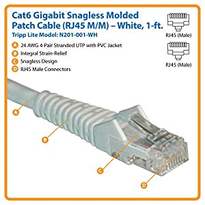 N201-001-WH TRIPP LITE N201-001-WH CAT-6 RJ45 Male to Male White Gigabit Snagless Molded Patch Cable 1ft