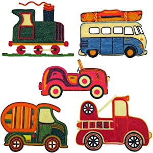Train, VW Bus, Convertible Roadster, Cement Mixer Truck, Fire Truck