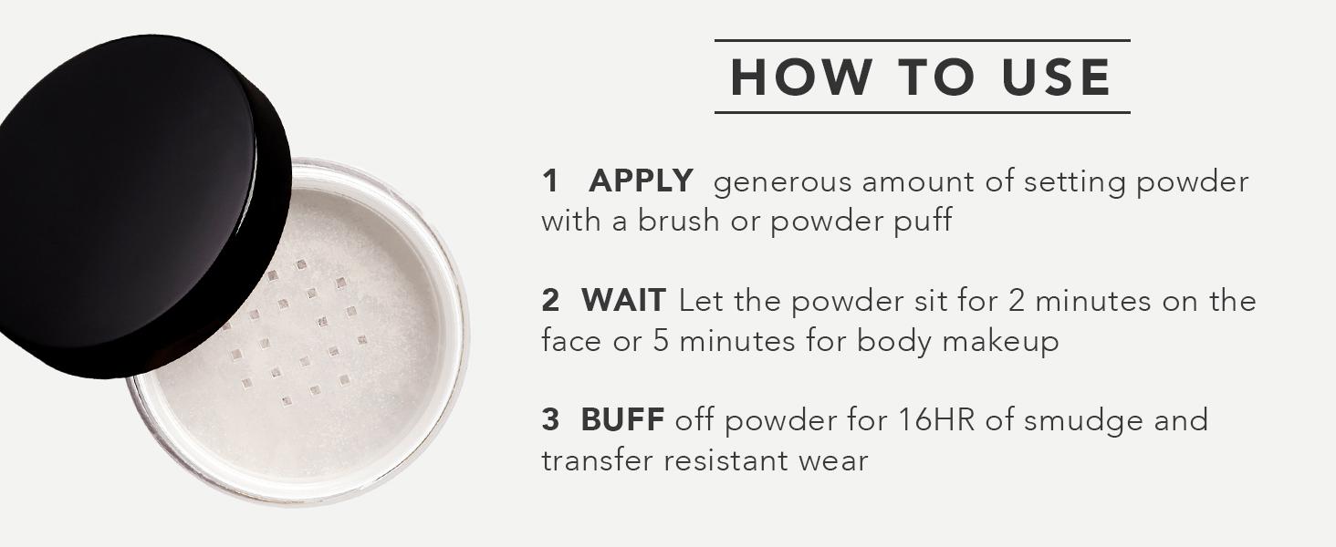dermablend, mask proof, loose setting powder