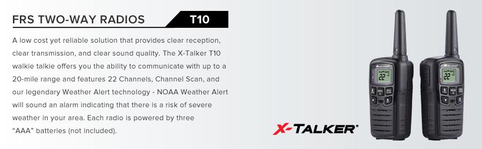 Midland T10 X-TALKER, 22 Channel FRS Walkie Talkie - Up to 20 Mile Range Two-Way Radio, 38 Privacy Codes & NOAA Weather Alert (Pair Pack) (Black)