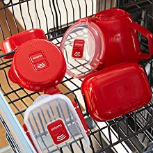 Sistema 1118ZS Microwave Collection Round Dish, 5 Cup, Red