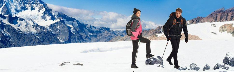 XQS Mens Outdoor Mountain Windproof Fleece Ski Snow Pants Hiking Trousers