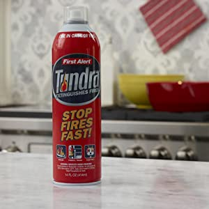 Tundra Fire Extinguishing Aerosol Spray is easy to use and has a wide spray area