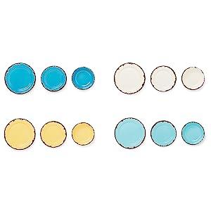4 colors; melamine plates; melamine dinnerware set; melamine bowls; set of 12 melamine