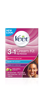Amazon Com Veet 3 In 1 Face Cream Hair Remover Kit Normal