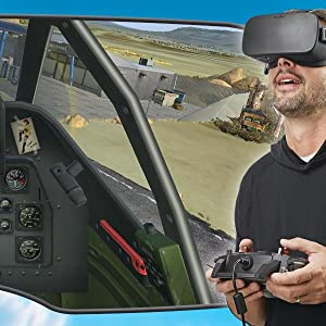 Screenshot from first-person cockpit view with inset of guy wearing VR headset and using controller