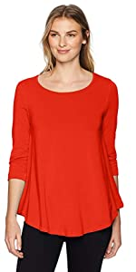 slimsation tunic top jersey knit scoop neck with 3 quarter sleeve 3/4 solid high-low sing tunic top