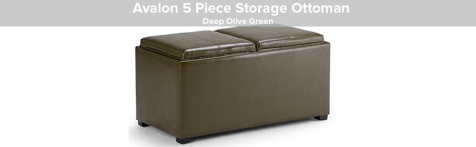 Deep Olive Green Simpli Home Avalon 5 Piece Rectangular Storage Ottoman