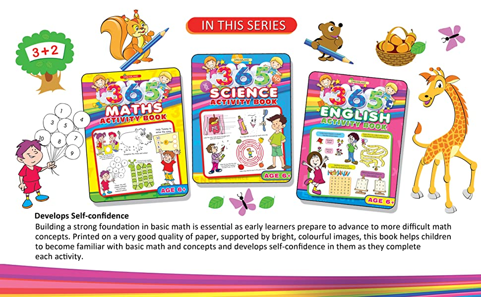 Activity Books, english, maths, science, general knowledge, logic, dreamland Publications