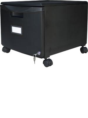 Storex Plastic 1-Drawer Mobile File Cabinet, Black