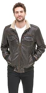 Levi's men's Vintage Deer Faux Leather Sherpa Lined Aviator Bomber