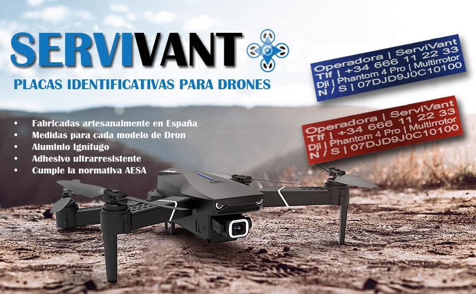 SERVIVANT ○ Kit de 2 Placas Identificativas para Drones ○ Placas ...