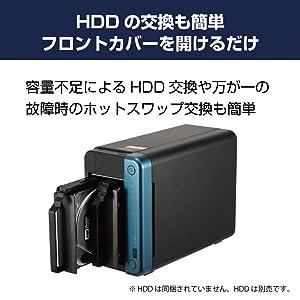 HDDの交換も簡単 フロントカバーを開けるだけ 容量不足によるHDD交換や万が一の故障時のホットスワップ交換も簡単 ※HDDは同梱されていません。HDDは別売です。