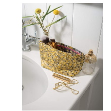 Clarissa Hulse Garland Yellow Oil Cloth Cosmetic Bag
