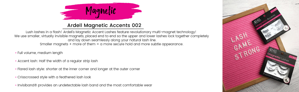 ardell, ardell lashes, ardell magnetic accents 002, magnetic lashes, accents 002, false eyelashes