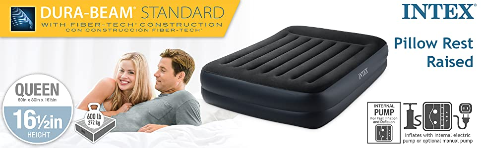 Intex Dura-Beam Standard Series Pillow Rest Raised Airbed w/Built-in Pillow & Internal Electric Pump