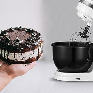 PRIXTON KR100 - Robot Cocina/Batidora Amasadora de Reposteria con Potente Motor de 1000 W, Incluye 3 Accesorios de batido y un Bol de 4L, 6 Velocidades Diferentes + Velocidad Continua, Color Blanco: Amazon.es