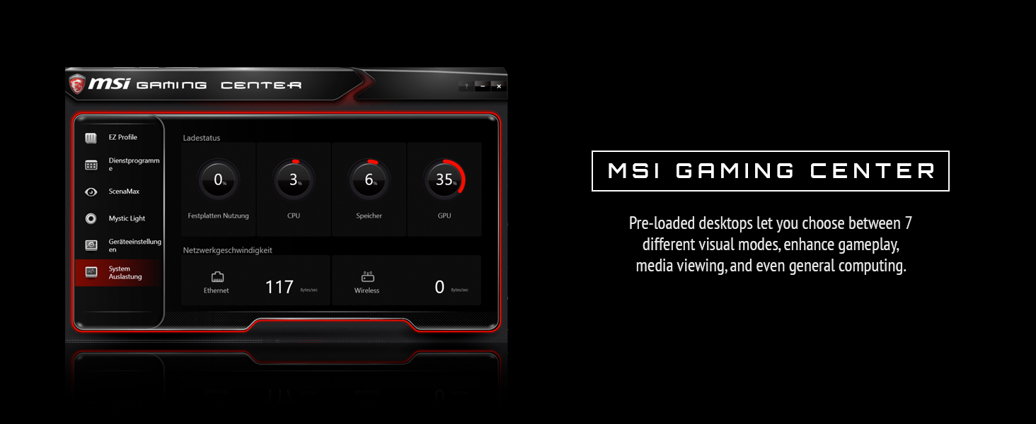 msi gaming center. pre-loaded settings to enhance gameplay