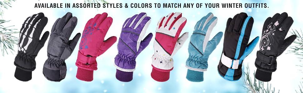 AbbyLexi Ski Mittens Kids Girls Boys Thinsulate Lined Waterproof Snow Gloves