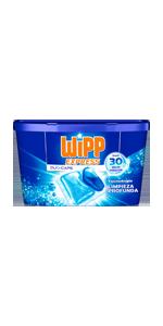 WiPP Express Detergente Líquido Azul, Total 120 Lavados, Pack de 4 ...