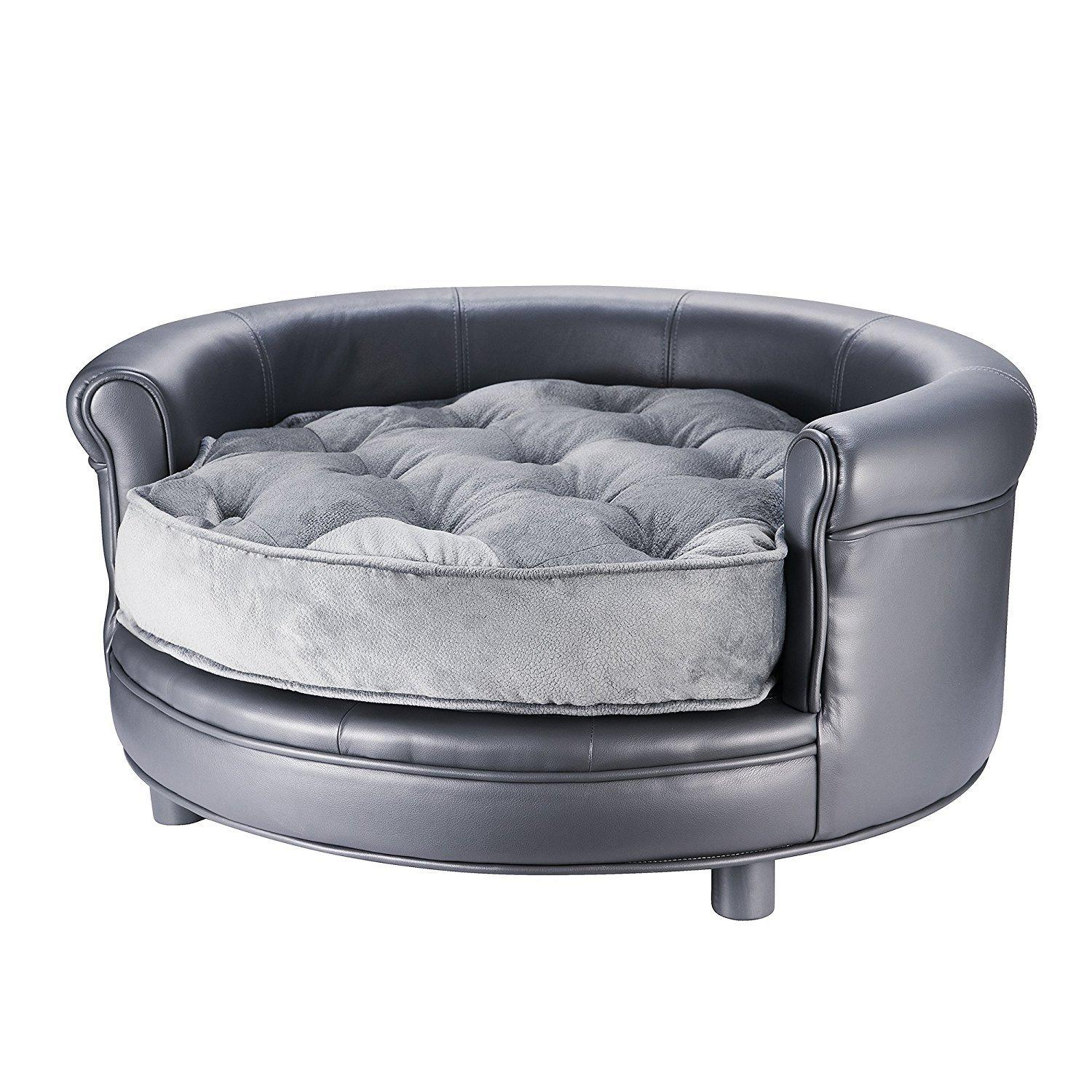 Amazon Villacera Chesterfield Faux Leather Dog Bed