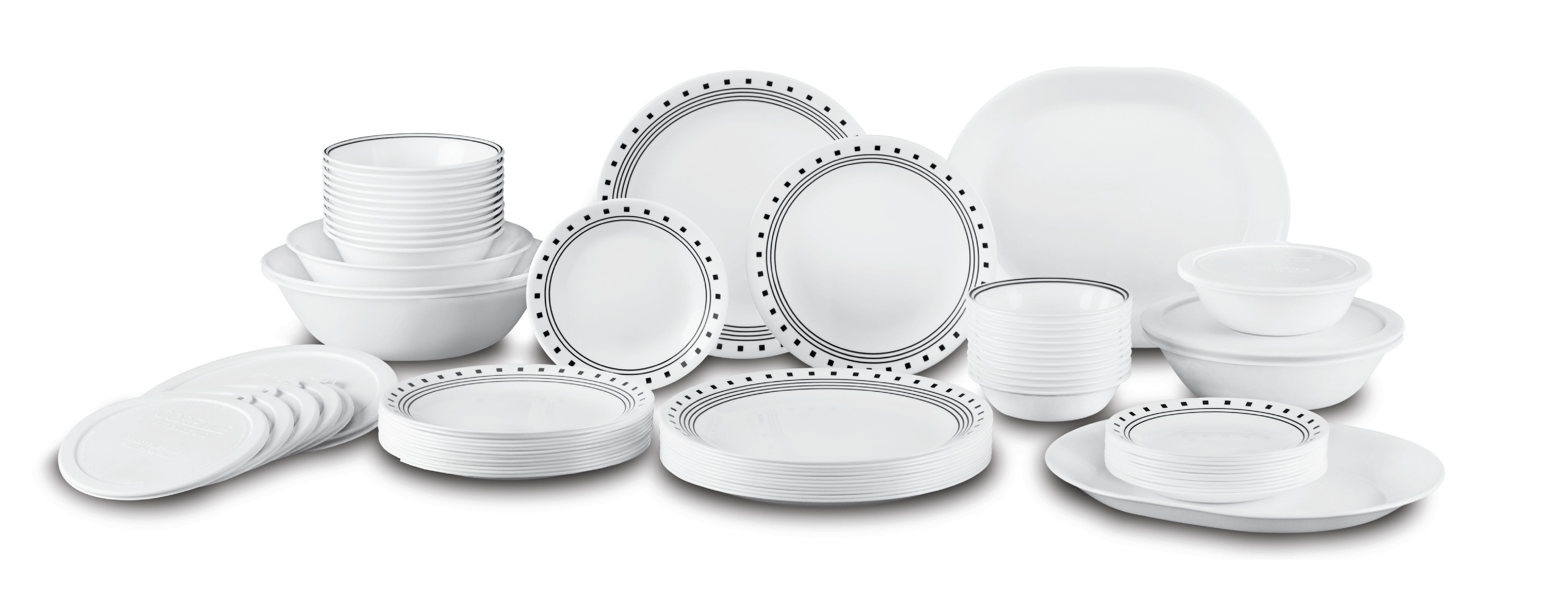 Amazon Com Corelle City Block Dinnerware Set With Lids
