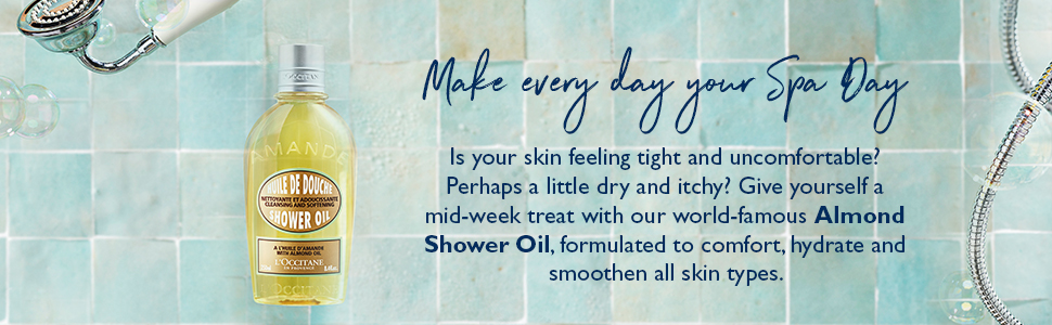 almond shower oil;dry skin;shower gel;shower oil;body care;soap;almond;loccitane almond;body wash