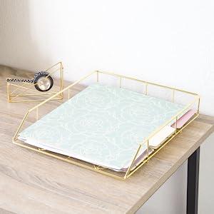 letter tray, letter trays, gold letter tray, letter tray gold, gold letter tray organizer