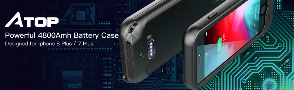 iPhone 7 Plus / 8 Plus Battery Case, ATOP 4800mAh Full-Body Rugged Charger Case with Built-in Screen Protector Compatible QI Wireless Charging IPX5 ...