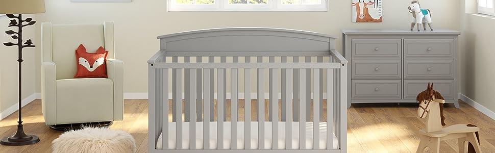 Amazon Com Graco Benton 5 In 1 Convertible Crib Pebble Gray Baby