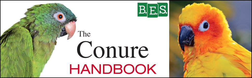 The Conure Handbook, masthead, advice, acquiring, housing, grooming, feeding, healthcare