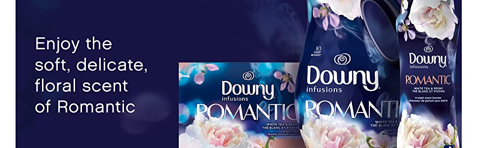enjoy the soft, delicate, floral scent of romantic, downy infusions fabric conditioner softener