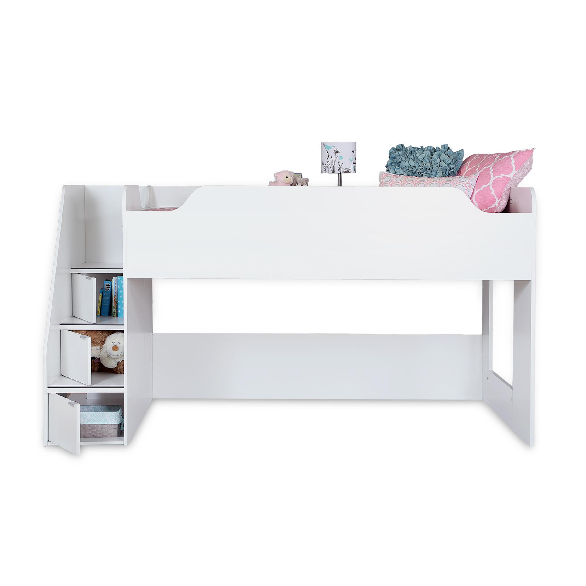 imagine collection twin loft bed with storage pure white by south shore kitchen. Black Bedroom Furniture Sets. Home Design Ideas