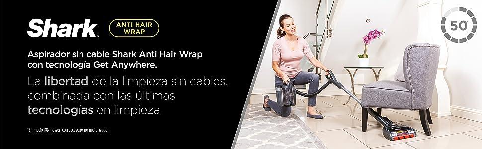 Shark Aspiradora escoba sin cable [ICZ160EU] Anti Hair Wrap, DuoClean, Get Anywhere Portable, Batería Simple, Plata/Negro: Amazon.es: Hogar