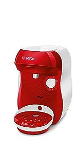 Bosch TAS1006 TASSIMO Happy Cafetera cápsulas, 1400 W, color rojo: Amazon.es: Hogar