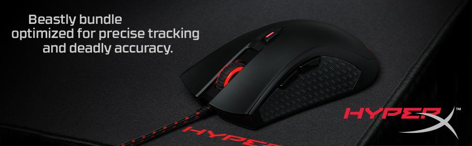 HyperX Pulsefire FPS Wired Optical Gaming Mouse w// Fury S Pro Medium Mouse Pad