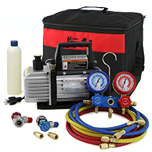 Xtremepower Air Vacuum Pump HVAC Manifold Gauge Freon Set
