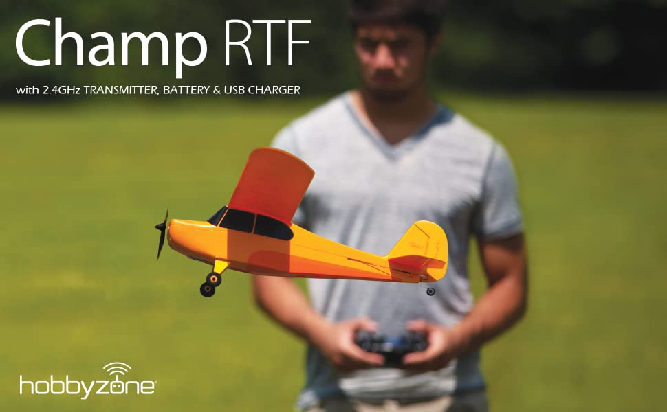 Hobbyzone Champ trainer RC airplane comes ready to fly with transmitter, battery and charger