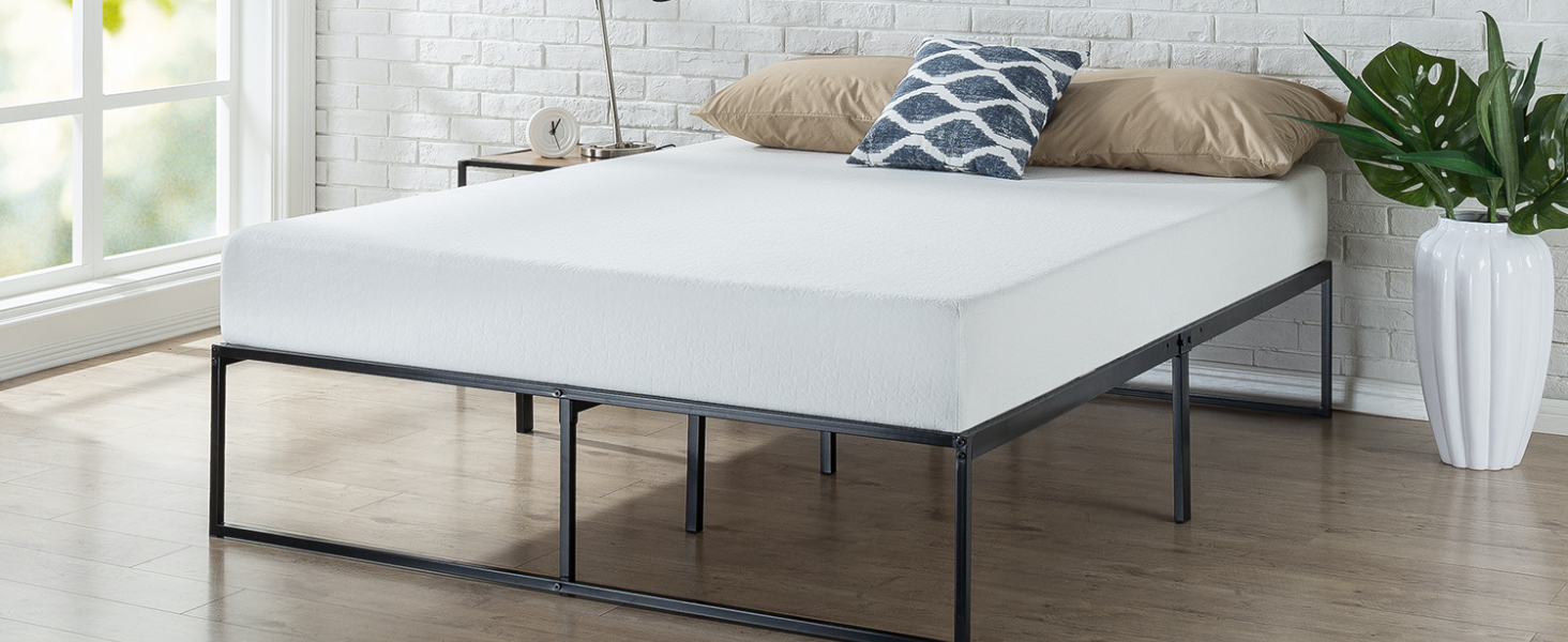 metal platform bed with mattress