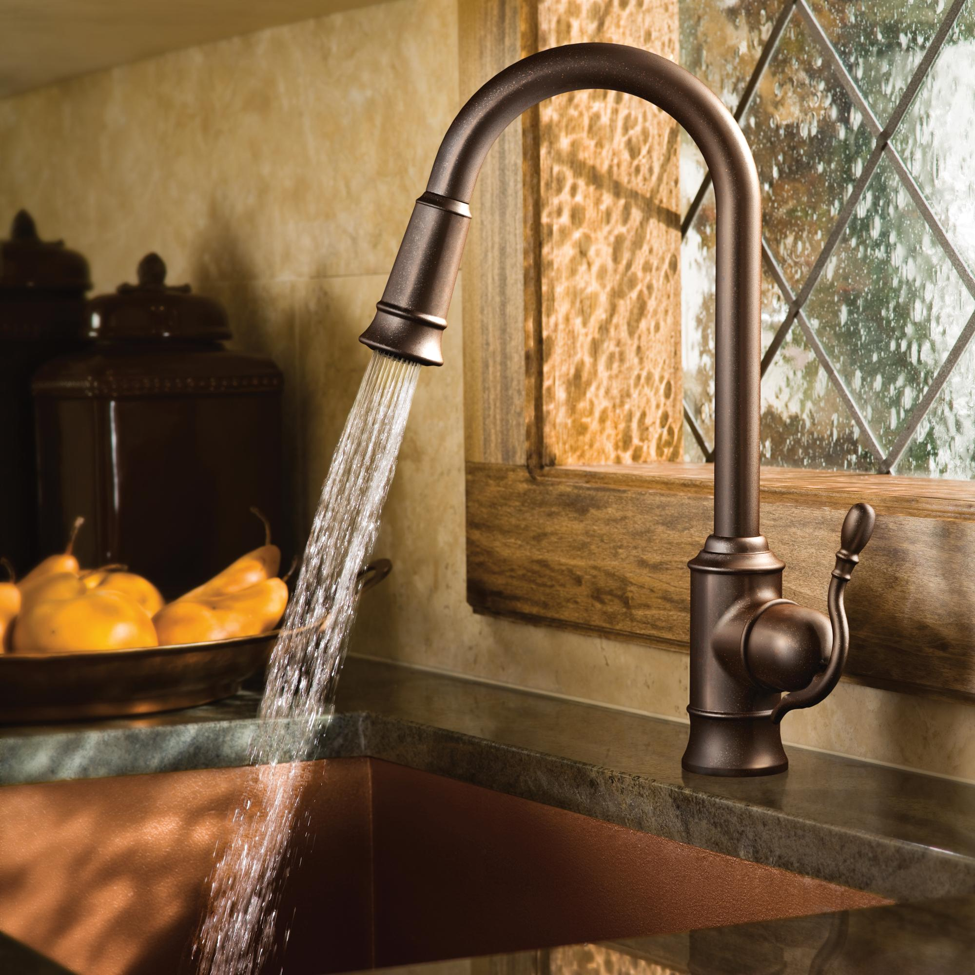 Moen 7615ORB Woodmere e Handle High Arc Pulldown Kitchen Faucet