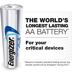 Energizer Ultimate Lithium Batteries, Longest Lasting AA Battery for your critical devices