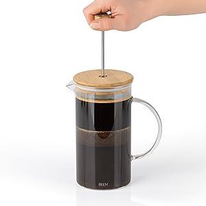 1 Liter Camping Kaffeekocher 8 Tassen Kaffee Edelstahl-Pressfilter Coffee Press Edelstahl Glas BEEM FRENCH PRESS Kaffeebereiter 1 l