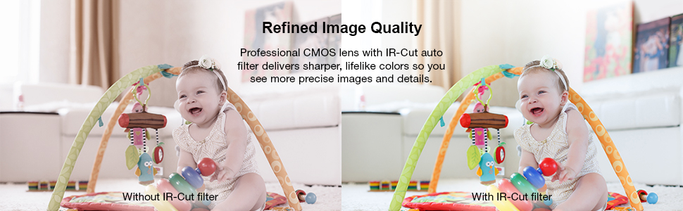 Refined images with professional CMOS lens with IR cut auto filter delivers sharper lifelike colors