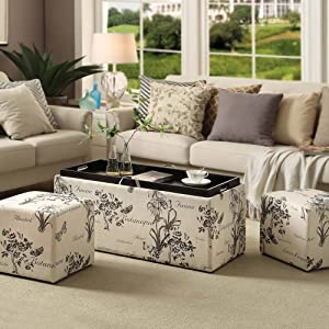 Swell Convenience Concepts Designs4Comfort Sheridan Storage Bench With Two Side Ottomans Botanical Print Spiritservingveterans Wood Chair Design Ideas Spiritservingveteransorg