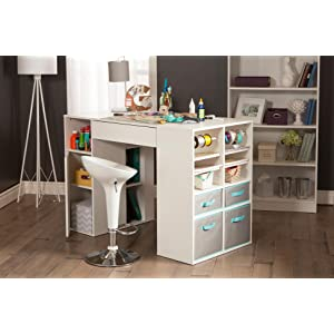 Wonderful South Shore Crea Counter Height Craft Table With Storage,Pure White