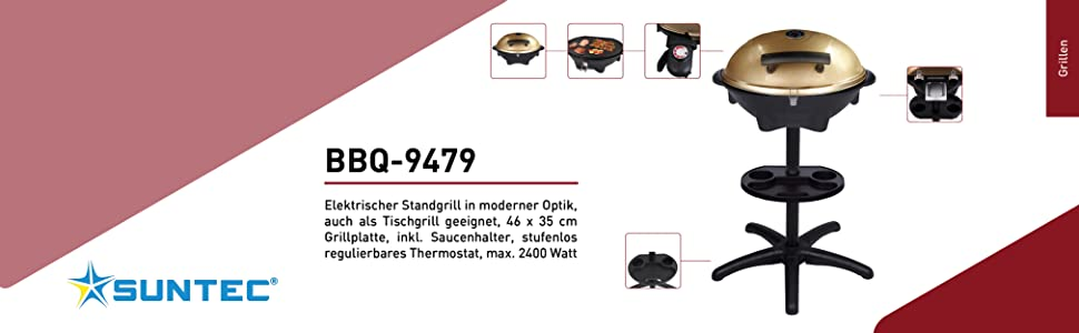 SUNTEC Ersatz-Grillplatte 46x35 Antihaftgeschichte Grillplatte mit 46x35 cm, passend f/ür BBQ-9479 und BBQ-9493, Fettablauf, verdecktes Heizelement, max. 1600 W