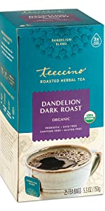 Teeccino Dandelion Dark Roast Herbal Tea substitute is made with roasted Ramón seeds and chicory.