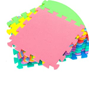 Easy assemble, colorful, red, green, pink, yellow, blue, orange, sky, purple, textured, eva, foam