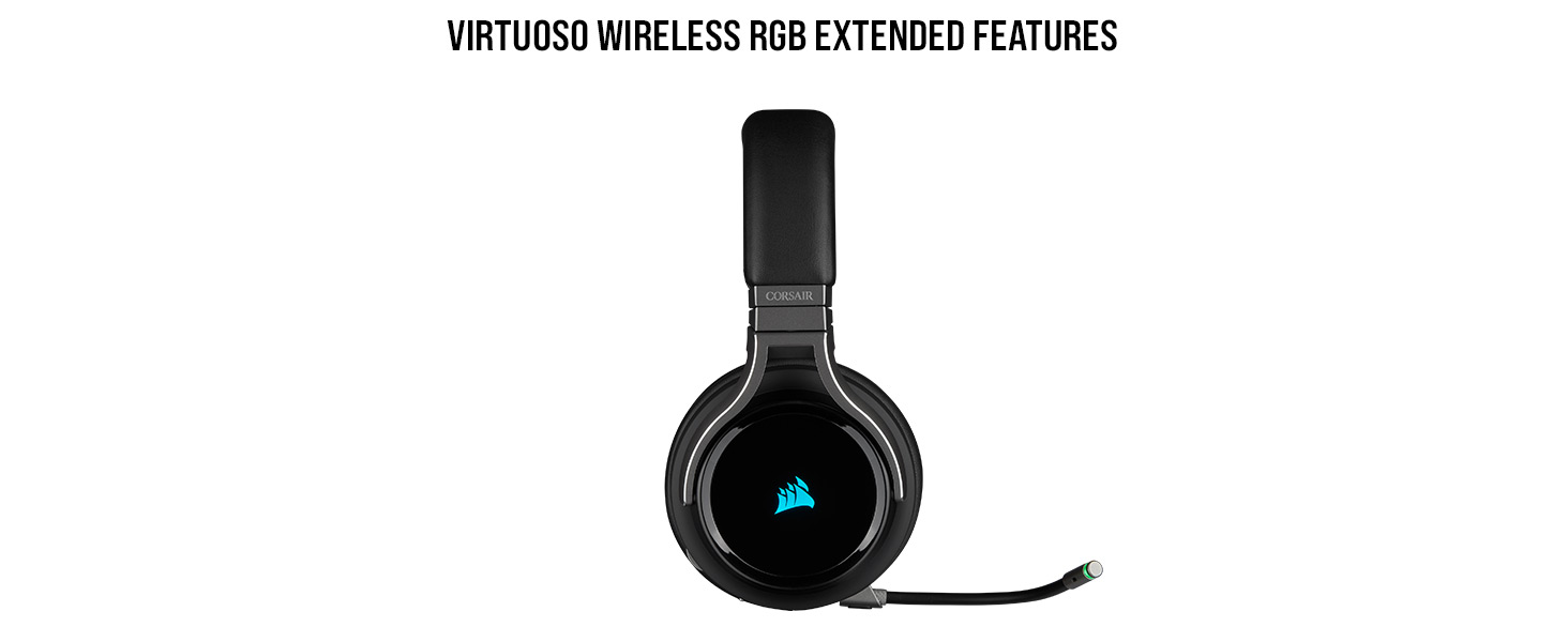 Corsair Virtuoso RGB Wireless Gaming Headset - High-Fidelity 7 1 Surround  Sound - Memory Foam Earcups - 20 Hour Battery Life - Carbon